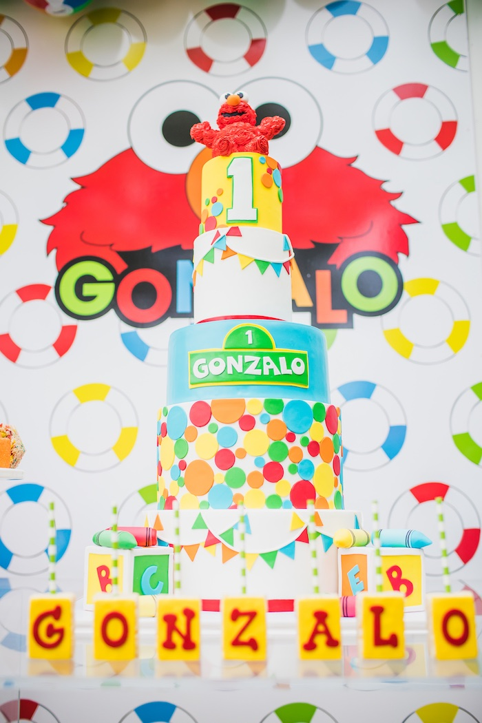 Sesame Street Cake from Elmo's Super Splash Birthday Party on Kara's Party Ideas | KarasPartyIdeas.com (9)