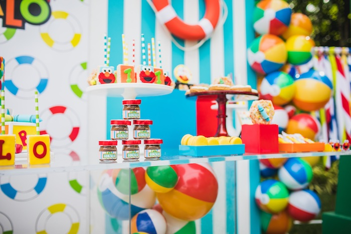 Dessert table detail from Elmo's Super Splash Birthday Party on Kara's Party Ideas | KarasPartyIdeas.com (8)