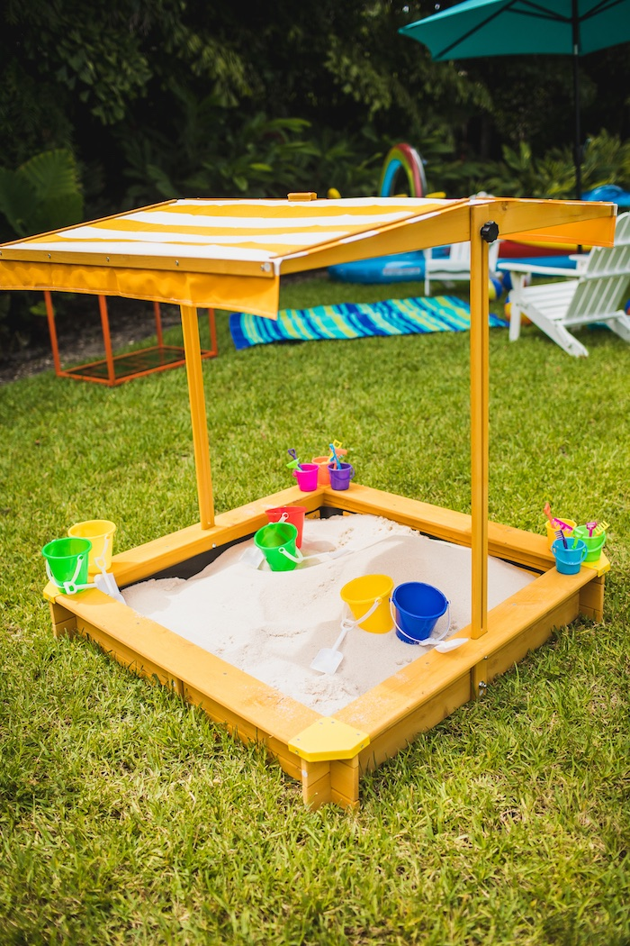 Canopied Sand Box from Elmo's Super Splash Birthday Party on Kara's Party Ideas | KarasPartyIdeas.com (26)