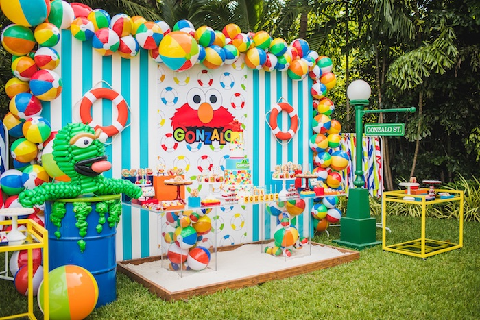 Beach Ball Dessert Table from Elmo's Super Splash Birthday Party on Kara's Party Ideas | KarasPartyIdeas.com (6)