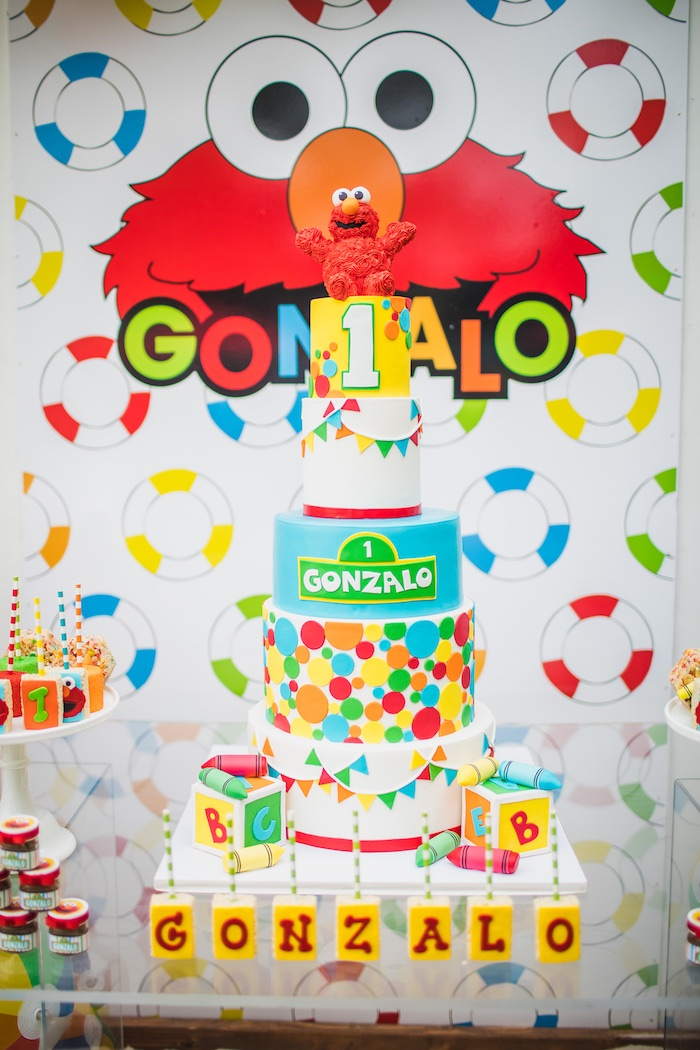 Sesame Street Birthday Cake from Elmo's Super Splash Birthday Party on Kara's Party Ideas | KarasPartyIdeas.com (22)