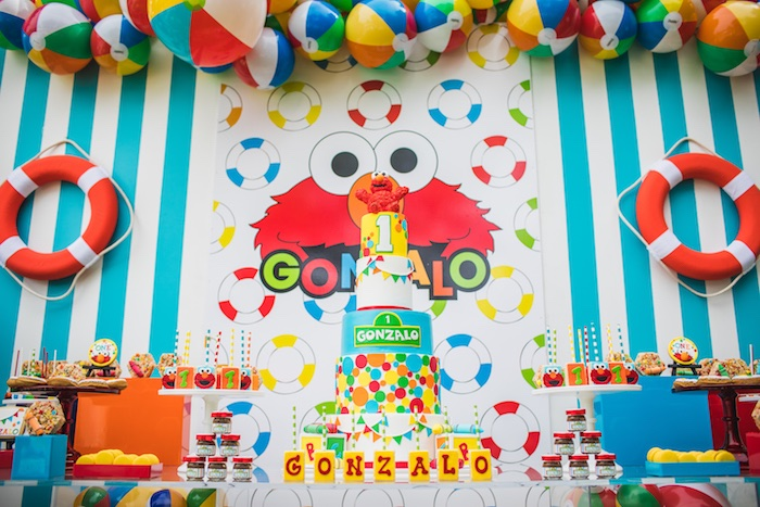 Elmo-inspired dessert table from Elmo's Super Splash Birthday Party on Kara's Party Ideas | KarasPartyIdeas.com (21)