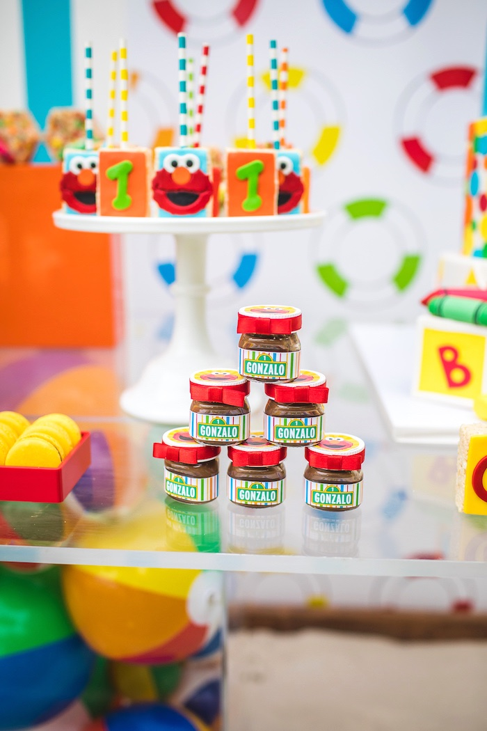 Mini Sesame Street Favor Jars from Elmo's Super Splash Birthday Party on Kara's Party Ideas | KarasPartyIdeas.com (20)
