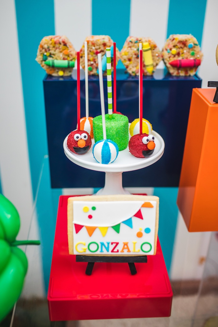 Cake Pops + Cookie from Elmo's Super Splash Birthday Party on Kara's Party Ideas | KarasPartyIdeas.com (18)