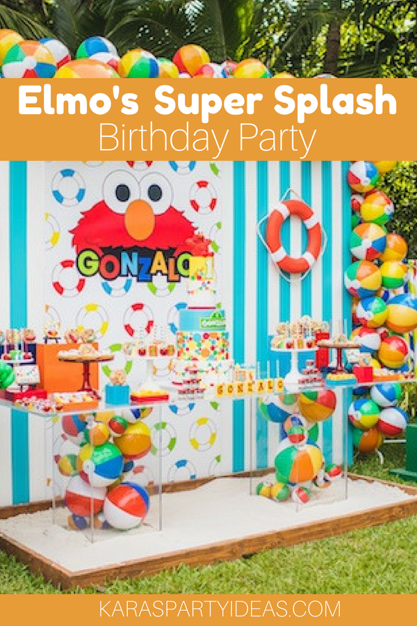 Elmo's Super Splash Birthday Party via Kara's Party Ideas - KarasPartyIdeas.com