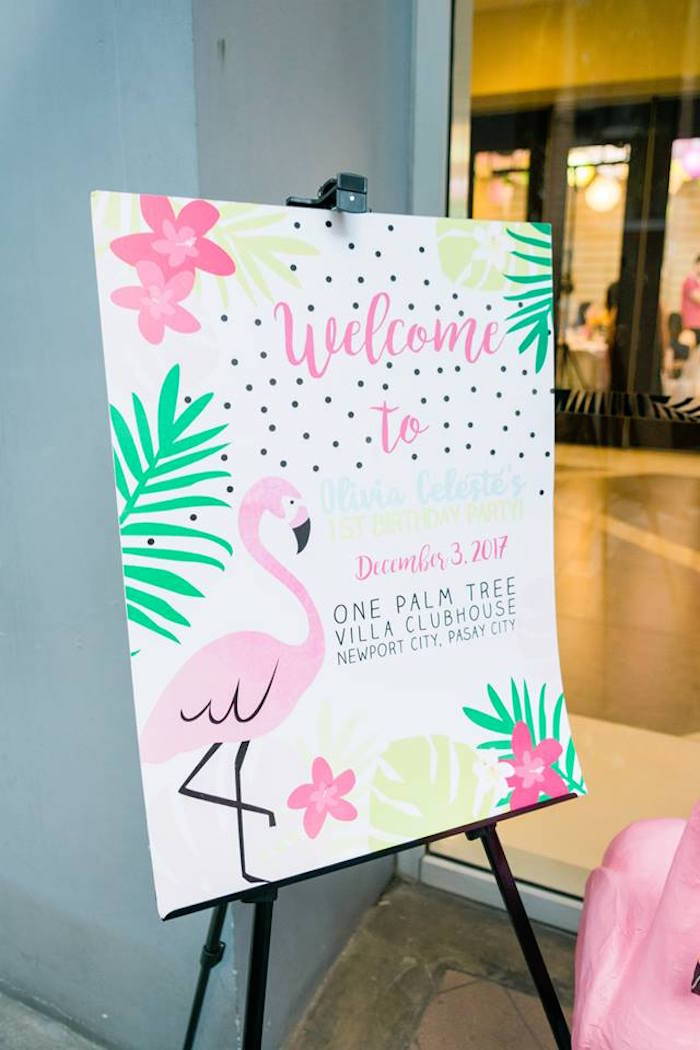 Flamingo Welcome Sign from a Fabulous Flamingo Birthday Party on Kara's Party Ideas | KarasPartyIdeas.com (16)