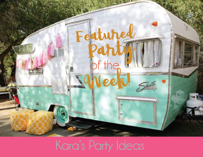 Girly Glamping Party with a White, Pink, and Robins Egg Blue glamper | Kara's Party Ideas