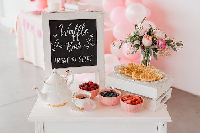 Valentine's Day Waffle Bar from a Galentine's Day Valentine Brunch on Kara's Party Ideas | KarasPartyIdeas.com (20)