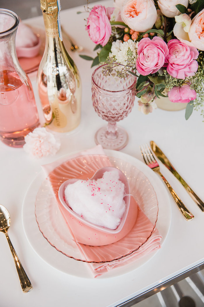 Heart Table Setting from a Galentine's Day Valentine Brunch on Kara's Party Ideas | KarasPartyIdeas.com (7)