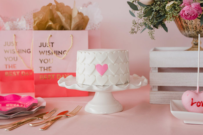 Valentine's Day Heart Cake from a Galentine's Day Valentine Brunch on Kara's Party Ideas | KarasPartyIdeas.com (28)