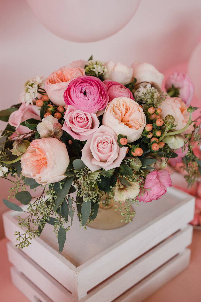 Pink & Peach Floral Arrangement from a Galentine's Day Valentine Brunch on Kara's Party Ideas | KarasPartyIdeas.com (25)