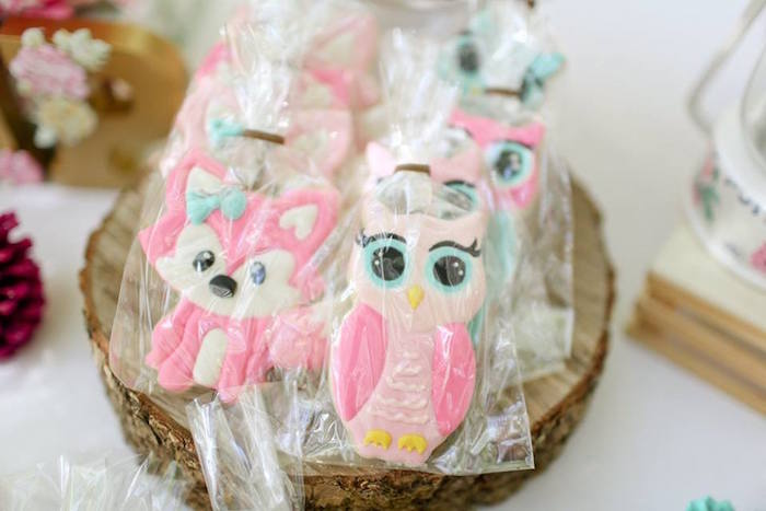Woodland Animal Sugar Cookie Favors from a Girly Woodland Glamping Party on Kara's Party Ideas | KarasPartyIdeas.com (16)
