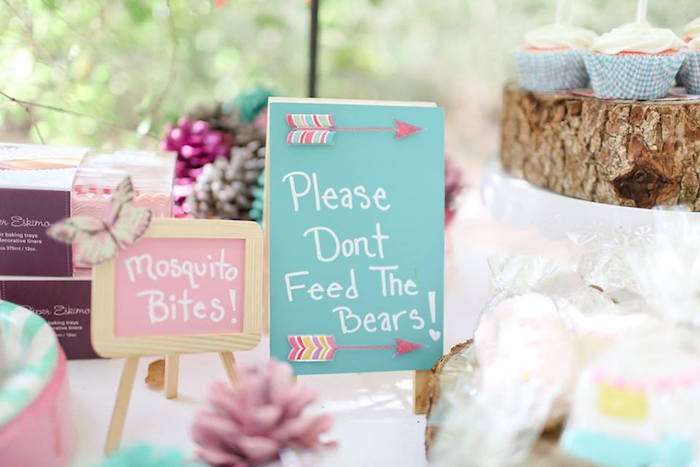 Girly Chalkboard Signage from a Girly Woodland Glamping Party on Kara's Party Ideas | KarasPartyIdeas.com (13)