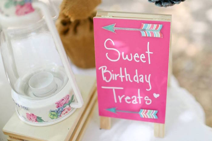 Signage from a Girly Woodland Glamping Party on Kara's Party Ideas | KarasPartyIdeas.com (12)