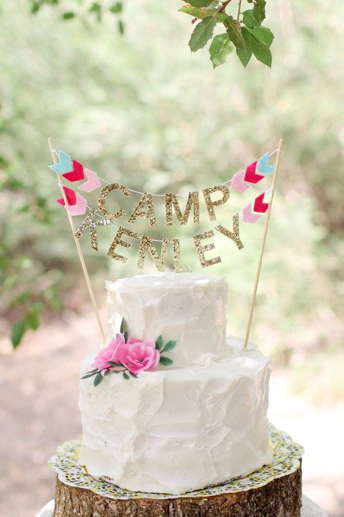 Cake from a Girly Woodland Glamping Party on Kara's Party Ideas | KarasPartyIdeas.com (11)