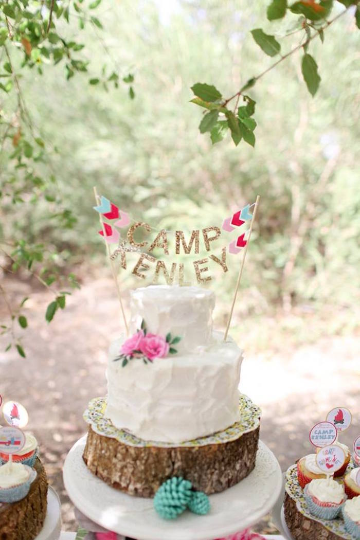 Glamping Cake from a Girly Woodland Glamping Party on Kara's Party Ideas | KarasPartyIdeas.com (8)