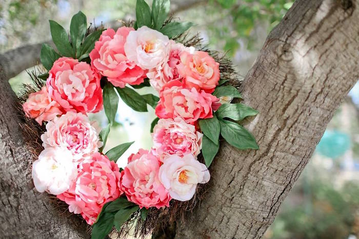 Floral Wreath from a Girly Woodland Glamping Party on Kara's Party Ideas | KarasPartyIdeas.com (7)