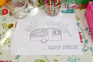 Camper Coloring Page from a Girly Woodland Glamping Party on Kara's Party Ideas | KarasPartyIdeas.com (6)