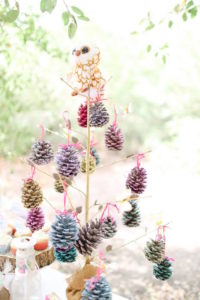 Painted Pinecone Tree from a Girly Woodland Glamping Party on Kara's Party Ideas | KarasPartyIdeas.com (5)
