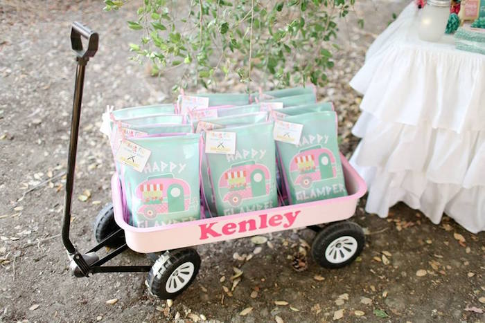 Camper Favor Bags in Pink Wagon from a Girly Woodland Glamping Party on Kara's Party Ideas | KarasPartyIdeas.com (3)