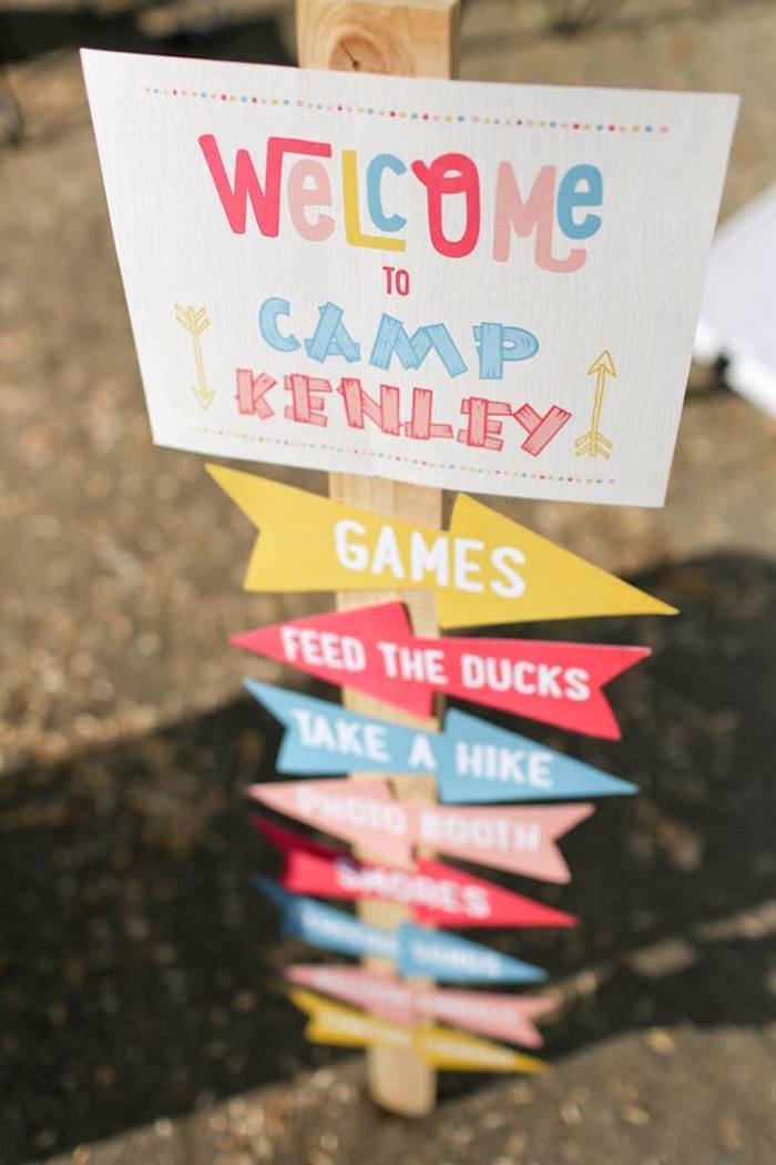 Welcome Directional Sign from a Girly Woodland Glamping Party on Kara's Party Ideas | KarasPartyIdeas.com (26)