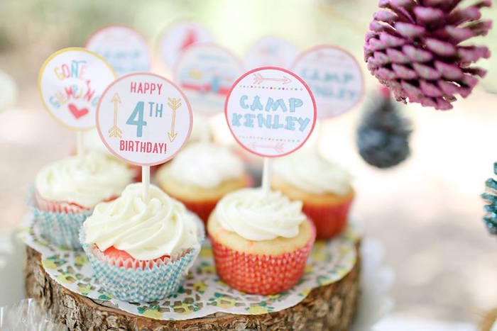Glamping Cupcakes from a Girly Woodland Glamping Party on Kara's Party Ideas | KarasPartyIdeas.com (25)