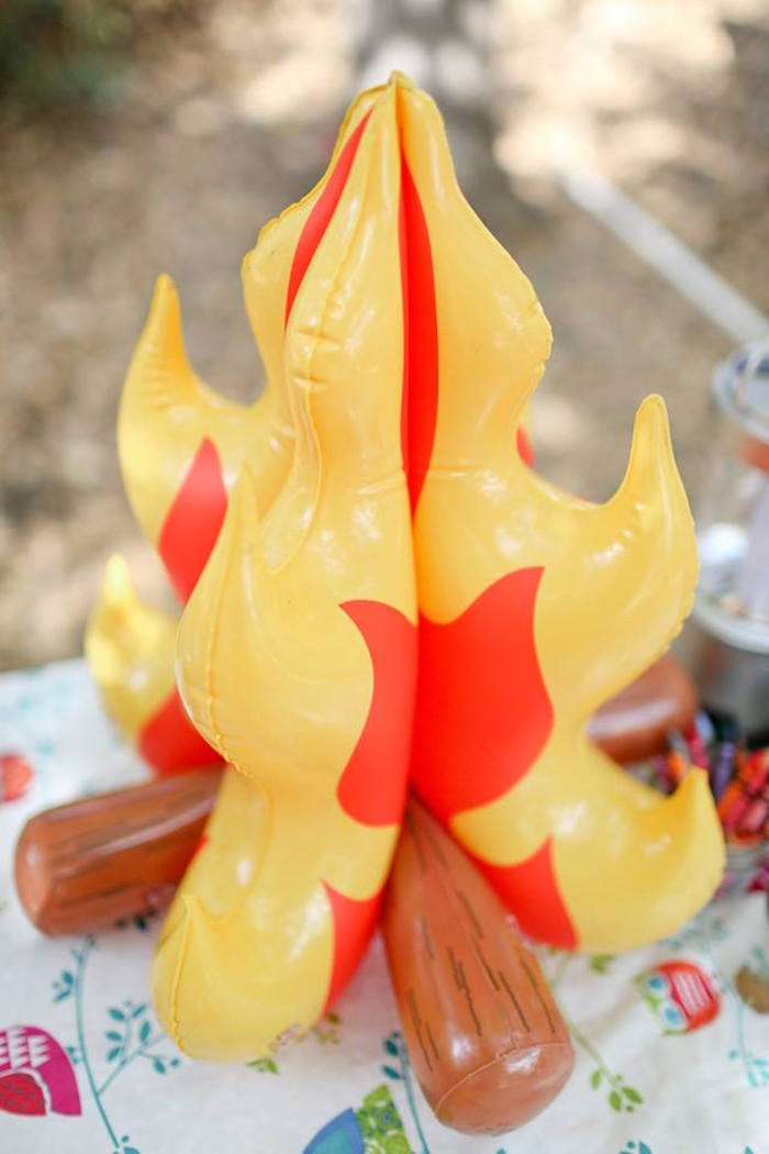 Inflatable Fire from a Girly Woodland Glamping Party on Kara's Party Ideas | KarasPartyIdeas.com (21)