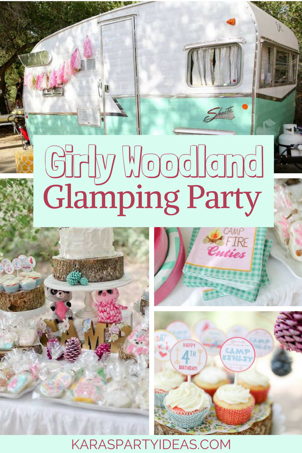 Girly Woodland Camping Glamping Party via Kara's Party Ideas - KarasPartyIdeas.com