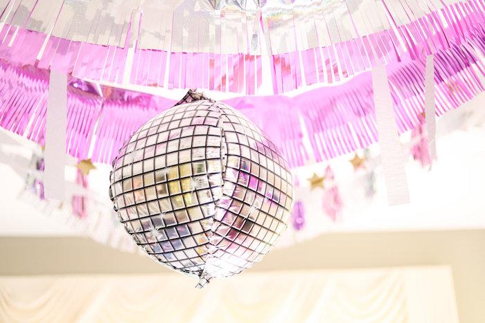 Disco Ball Balloon from a Glam Disco Birthday Party on Kara's Party Ideas | KarasPartyIdeas.com (13)