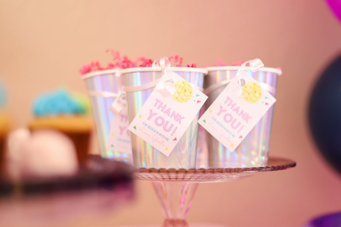 Shimmering favor cups from a Glam Disco Birthday Party on Kara's Party Ideas | KarasPartyIdeas.com (12)