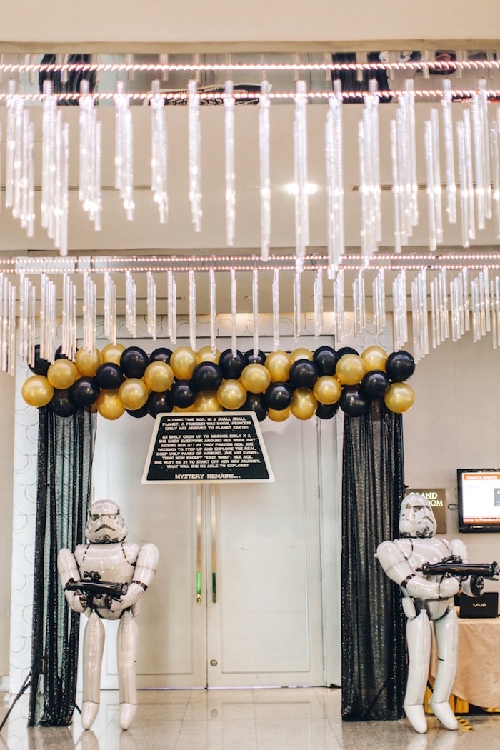 Storm Trooper Entrance from a Glam Rock Star Wars Party on Kara's Party Ideas | KarasPartyIdeas.com (6)