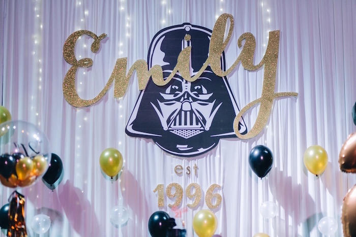 Darth Vader Backdrop from a Glam Rock Star Wars Party on Kara's Party Ideas | KarasPartyIdeas.com (21)