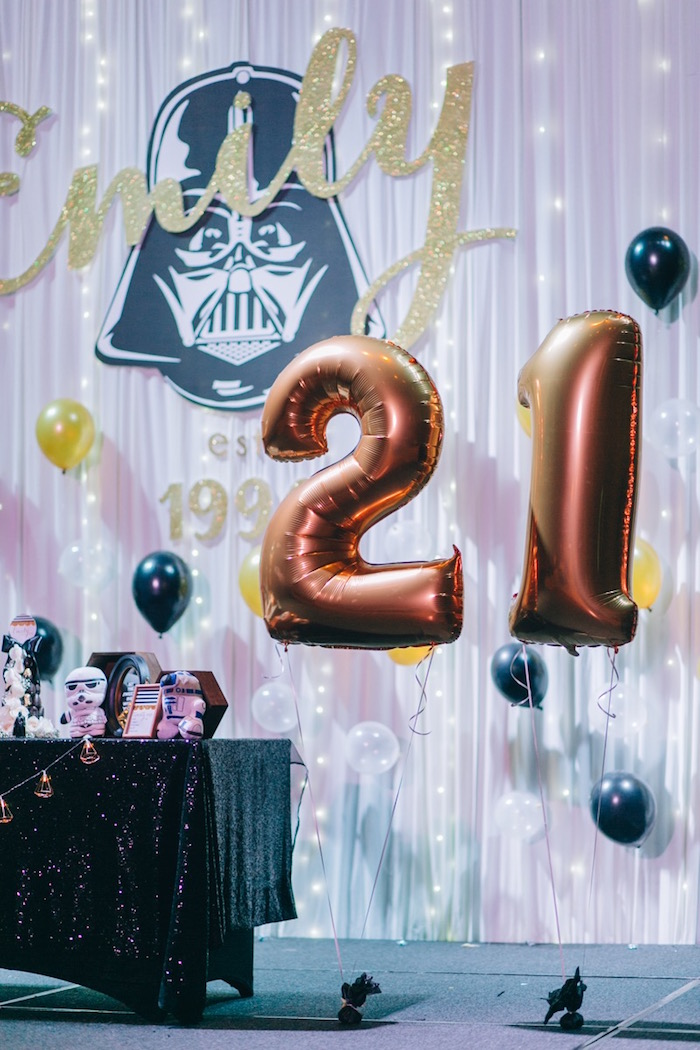 """21"" Mylar Balloons from a Glam Rock Star Wars Party on Kara's Party Ideas 