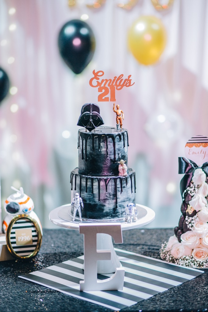 Star Wars Drip Cake from a Glam Rock Star Wars Party on Kara's Party Ideas | KarasPartyIdeas.com (19)