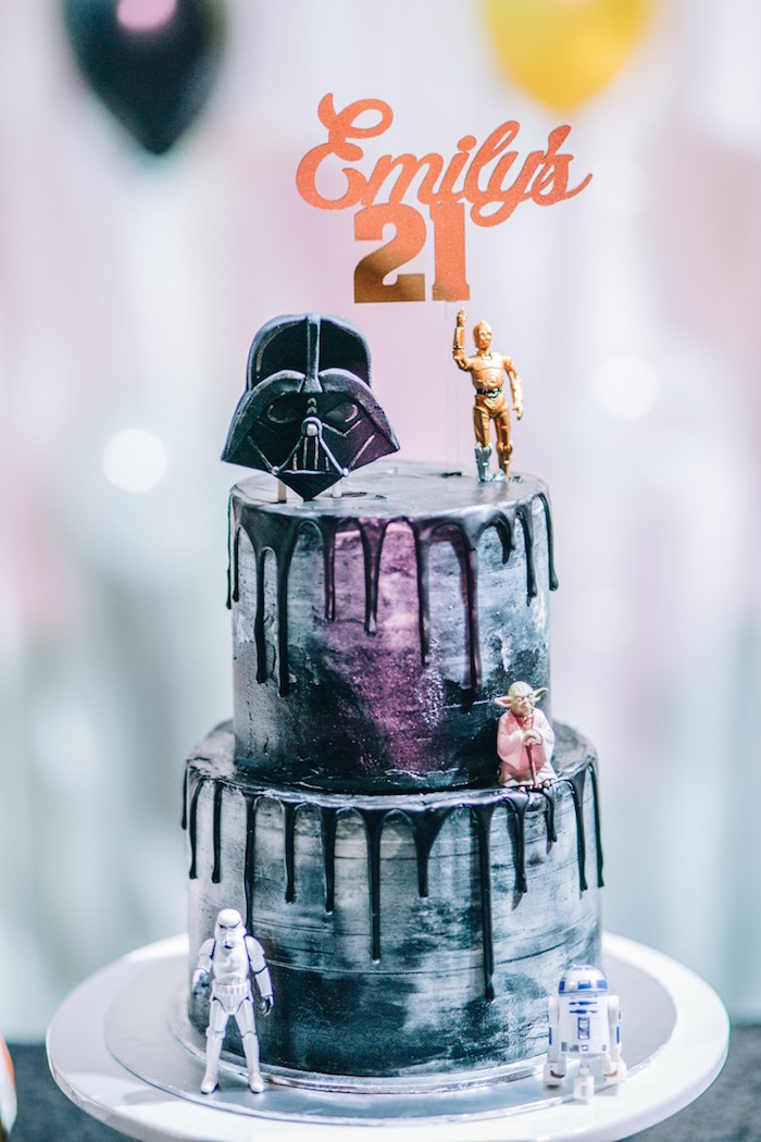 Star Wars Drip Cake from a Glam Rock Star Wars Party on Kara's Party Ideas | KarasPartyIdeas.com (18)