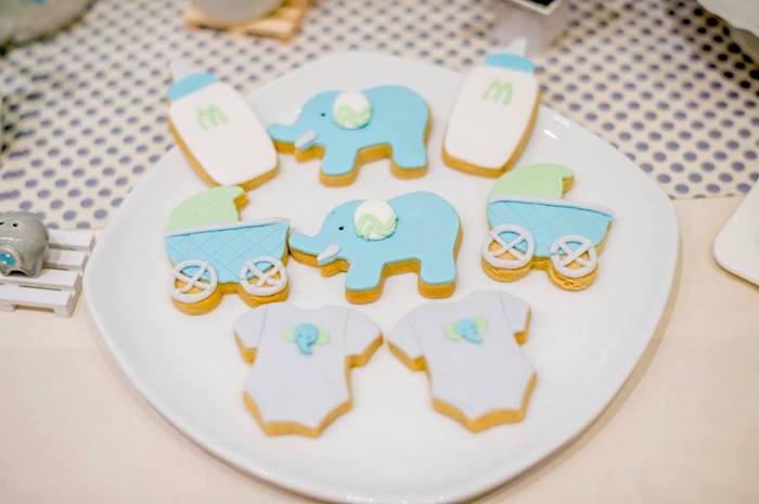 Infant Elephant Sugar Cookies from a Little Elephant Birthday Party on Kara's Party Ideas | KarasPartyIdeas.com (10)