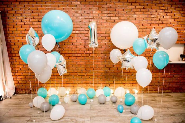 Floating Balloon Wall from a Little Elephant Birthday Party on Kara's Party Ideas | KarasPartyIdeas.com (9)
