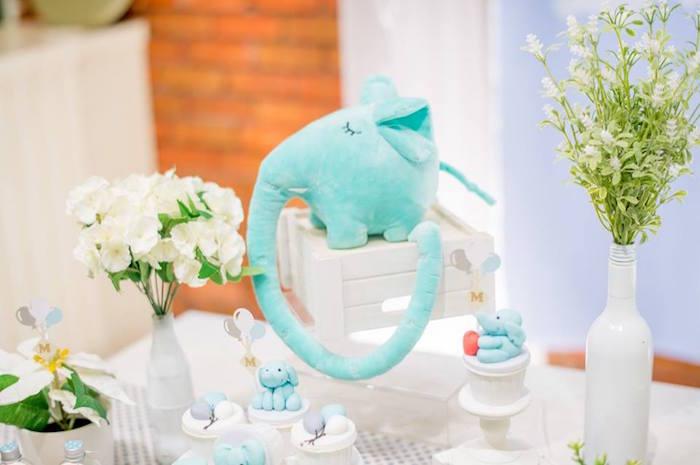 Plush Elephant Centerpiece from a Little Elephant Birthday Party on Kara's Party Ideas | KarasPartyIdeas.com (6)