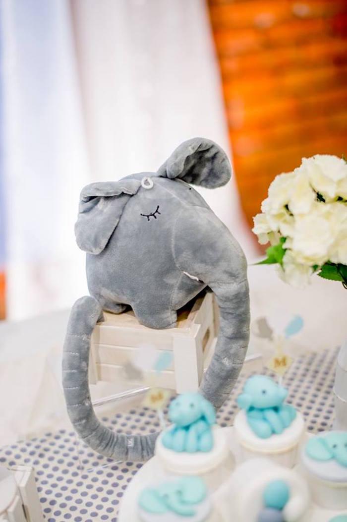 Plush Elephant Centerpiece from a Little Elephant Birthday Party on Kara's Party Ideas | KarasPartyIdeas.com (5)