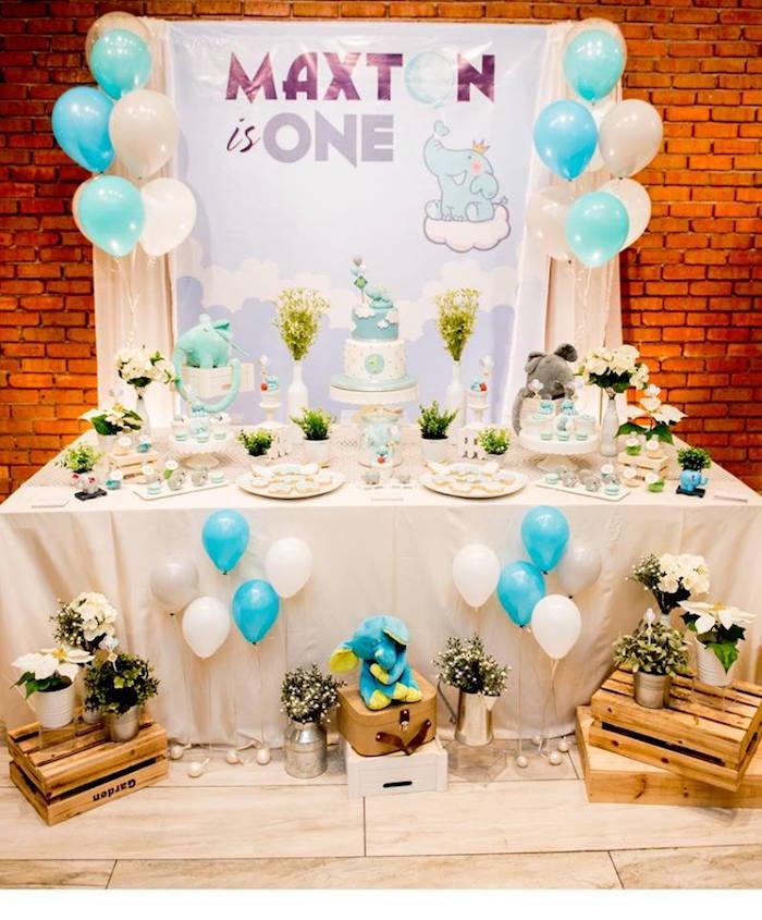 Elephant Dessert Table from a Little Elephant Birthday Party on Kara's Party Ideas | KarasPartyIdeas.com (4)