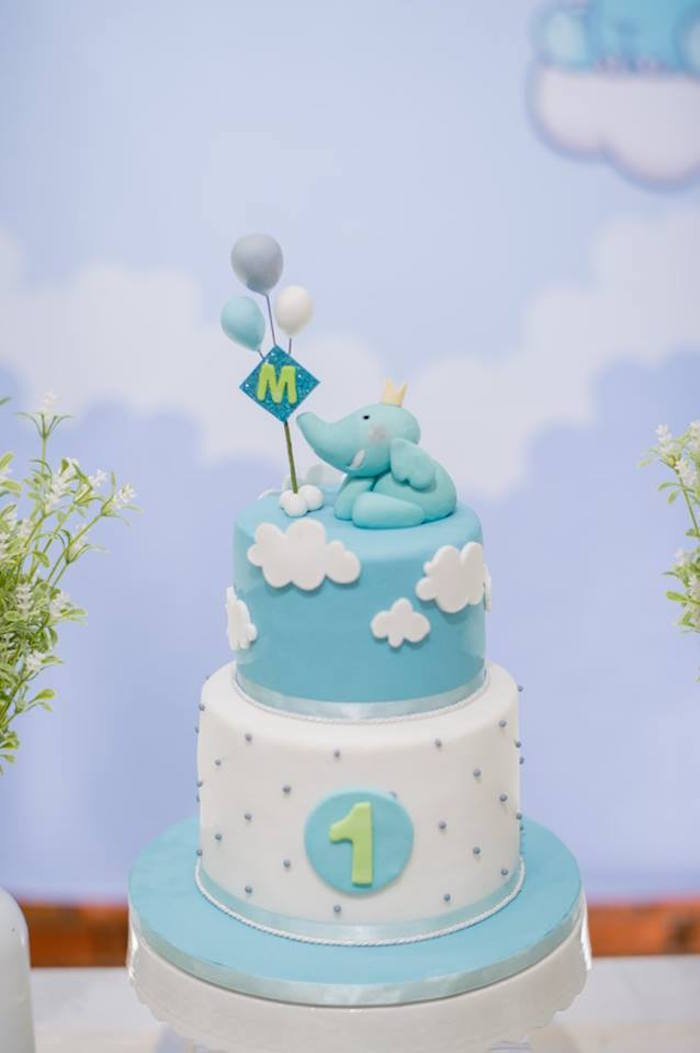 Elephant Cake from a Little Elephant Birthday Party on Kara's Party Ideas | KarasPartyIdeas.com (20)