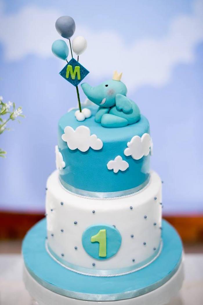 Elephant Cake from a Little Elephant Birthday Party on Kara's Party Ideas | KarasPartyIdeas.com (17)