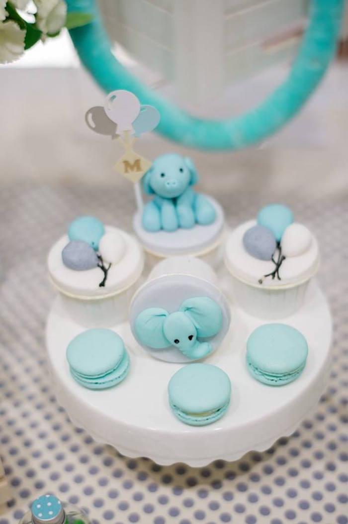 Elephant Cupcakes & Macarons from a Little Elephant Birthday Party on Kara's Party Ideas | KarasPartyIdeas.com (16)