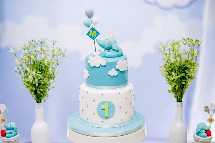 Cakescape from a Little Elephant Birthday Party on Kara's Party Ideas | KarasPartyIdeas.com (13)