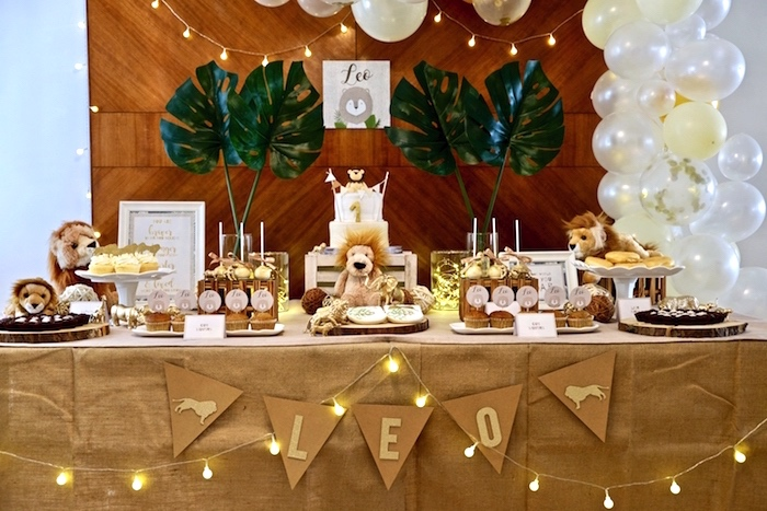 Safari-inspired Dessert Table from a Little Lion Birthday Party on Kara's Party Ideas | KarasPartyIdeas.com (27)