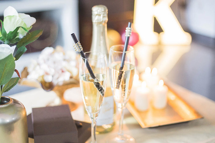 Drink Glasses from a Louis Vuitton Themed Party on Kara's Party Ideas | KarasPartyIdeas.com (16)