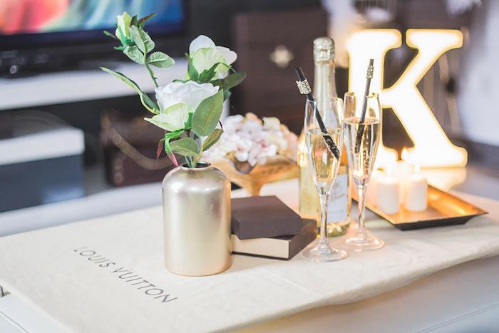 Decor Table from a Louis Vuitton Themed Party on Kara's Party Ideas | KarasPartyIdeas.com (15)