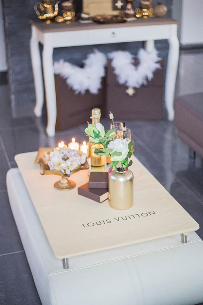 Decor Table from a Louis Vuitton Themed Party on Kara's Party Ideas | KarasPartyIdeas.com (13)