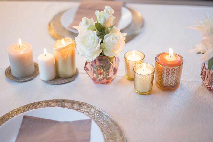 Candles and blooms from a Louis Vuitton Themed Party on Kara's Party Ideas | KarasPartyIdeas.com (8)