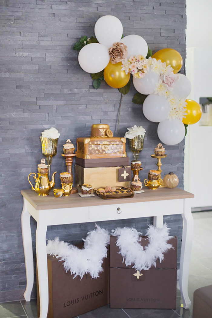 Dessert Table from a Louis Vuitton Themed Party on Kara's Party Ideas | KarasPartyIdeas.com (7)